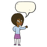 Cartoon woman making welcome gesture with speech bubble Royalty Free Stock Image