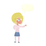 Cartoon woman making welcome gesture with speech bubble Royalty Free Stock Photography