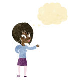 Cartoon woman making welcome gesture with thought bubble Stock Images