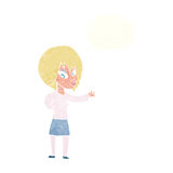 Cartoon woman making welcome gesture with thought bubble Royalty Free Stock Photography