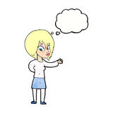Cartoon woman making welcome gesture with thought bubble Stock Image