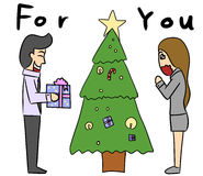 Cartoon woman man give gift Royalty Free Stock Images