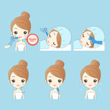 Cartoon woman with medical face. Cartoon young woman receiving plastic surgery injection on her mouth Royalty Free Stock Photo