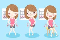Cartoon woman with menstruation Stock Photo