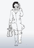 Cartoon woman with mobile. Cartoon illustration of young woman with mobile telephone, gradient white background Stock Image