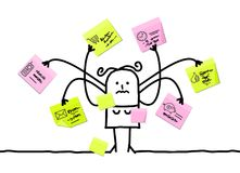 Cartoon Woman Multitasking with Sticky Notes. Vector Cartoon Woman Multitasking with Sticky Notes Stock Image