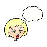Cartoon woman narrowing eyes with thought bubble Royalty Free Stock Images