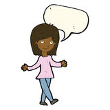 Cartoon woman with no worries with speech bubble Stock Image