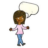 Cartoon woman with no worries with speech bubble Stock Photo