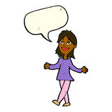 Cartoon woman with no worries with speech bubble Stock Photography