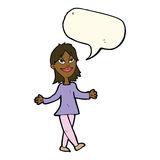 Cartoon woman with no worries with speech bubble Royalty Free Stock Photo