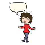 Cartoon woman with no worries with speech bubble Stock Images