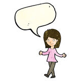Cartoon woman with no worries with speech bubble Royalty Free Stock Photography