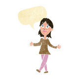 Cartoon woman with no worries with speech bubble Royalty Free Stock Images