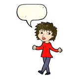 Cartoon woman with no worries with speech bubble Royalty Free Stock Image