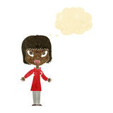 Cartoon woman with open arms with thought bubble Royalty Free Stock Images