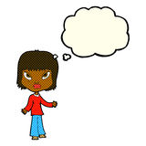 Cartoon woman with open arms with thought bubble Royalty Free Stock Photo