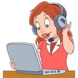 Cartoon woman operator of call center. Working in customer service department. Colorful book page design for kids and children Stock Photography