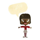 Cartoon woman with outstretched arms with speech bubble Royalty Free Stock Image