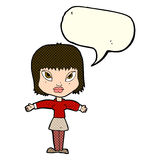 Cartoon woman with outstretched arms with speech bubble Royalty Free Stock Photography