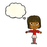 Cartoon woman with outstretched arms with thought bubble Stock Photo