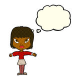 Cartoon woman with outstretched arms with thought bubble Royalty Free Stock Images