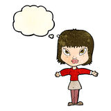 Cartoon woman with outstretched arms with thought bubble Stock Photography