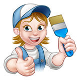 Cartoon Woman Painter Decorator Character Stock Photo
