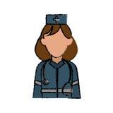 Cartoon woman paramedic help urgency wearing uniform stethoscope. Vector illustration Stock Images