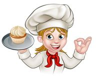 Cartoon Woman Pastry Chef Baker With Cupcake Royalty Free Stock Image