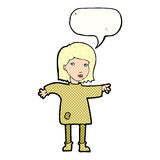 Cartoon woman in patched clothing with speech bubble Royalty Free Stock Image