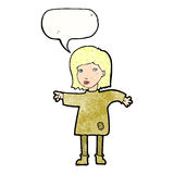 Cartoon woman in patched clothing with speech bubble Stock Photos