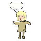 Cartoon woman in patched clothing with speech bubble Stock Image