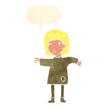 Cartoon woman in patched clothing with speech bubble Stock Photo