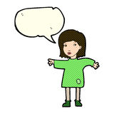 Cartoon woman in patched clothing with speech bubble Royalty Free Stock Photography