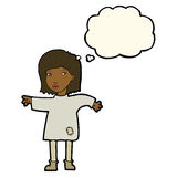 Cartoon woman in patched clothing with thought bubble Royalty Free Stock Photography