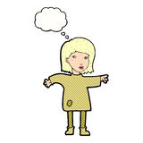 Cartoon woman in patched clothing with thought bubble Stock Photo