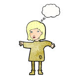 Cartoon woman in patched clothing with thought bubble Stock Images