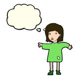 Cartoon woman in patched clothing with thought bubble Royalty Free Stock Image