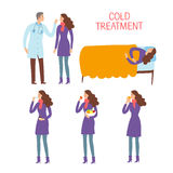 Cartoon woman patient with doctor set. Cold and flu treatment process concept. Cartoon woman patient set.  Medical care  illustration Stock Images