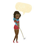 Cartoon woman playing golf with speech bubble royalty free illustration