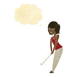 Cartoon woman playing golf with thought bubble Stock Image