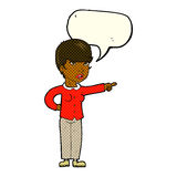 Cartoon woman pointing finger of blame with speech bubble Royalty Free Stock Photo