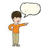 Cartoon woman pointing finger of blame with speech bubble Royalty Free Stock Images