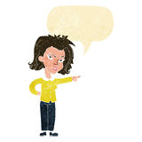 Cartoon woman pointing with speech bubble Royalty Free Stock Photo