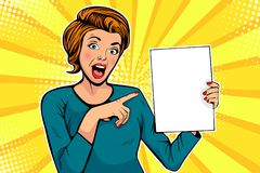 Cartoon woman points to a blank template. Vector illustration in pop art retro comic style royalty free illustration