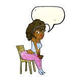 Cartoon woman posing on chair with speech bubble Stock Images