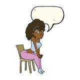 Cartoon woman posing on chair with speech bubble Royalty Free Stock Photos
