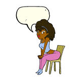 Cartoon woman posing on chair with speech bubble Royalty Free Stock Image