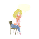 Cartoon woman posing on chair with speech bubble Royalty Free Stock Photo